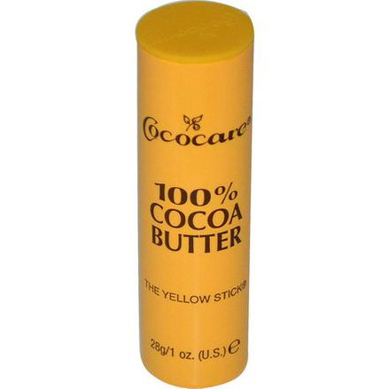 Cococare, 100% Cocoa Butter, The Yellow Stick 28g