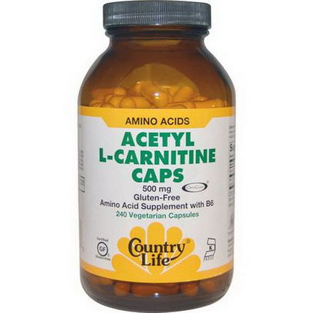 Country Life, Acetyl L-Carnitine Caps, 500mg, 240 Veggie Caps
