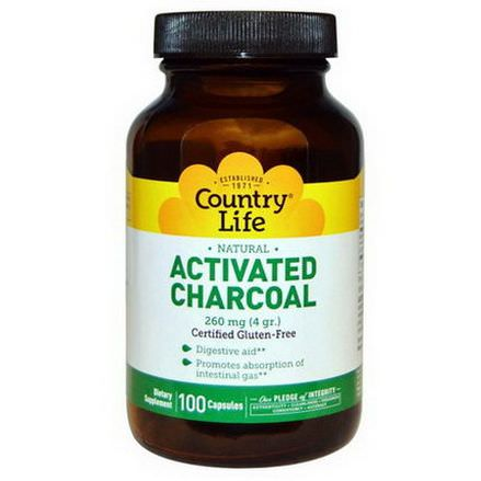 Country Life, Activated Charcoal 4g, 100 Capsules