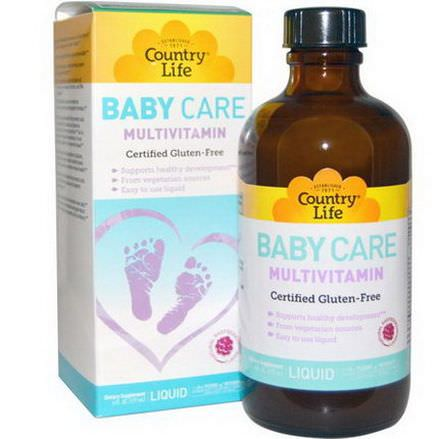 Country Life, Baby Care, Multivitamin, Liquid, Natural Raspberry Flavor 177ml