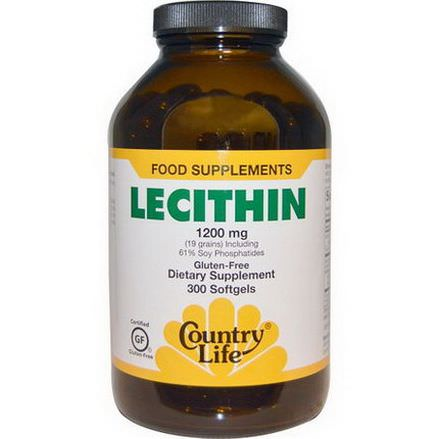 Country Life, Lecithin, 1200mg, 300 Softgels
