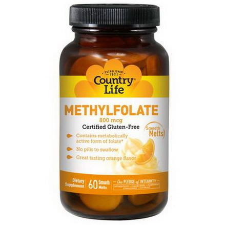 Country Life, Methylfolate, Orange Flavor, 800mcg, 60 Smooth Melts