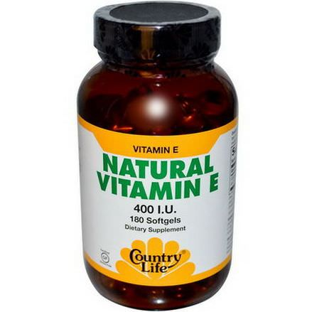 Country Life, Natural Vitamin E, 400 IU, 180 Softgels