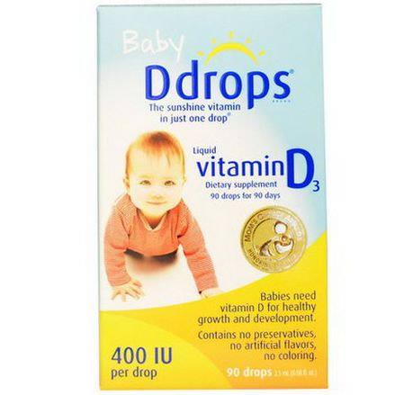 Ddrops, Baby, Liquid Vitamin D3, 400 IU 2.5ml, 90 Drops