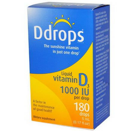 Ddrops, Liquid Vitamin D3, 1000 IU 5ml