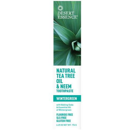 Desert Essence, Natural Tea Tree Oil&Neem Toothpaste, Wintergreen 176g