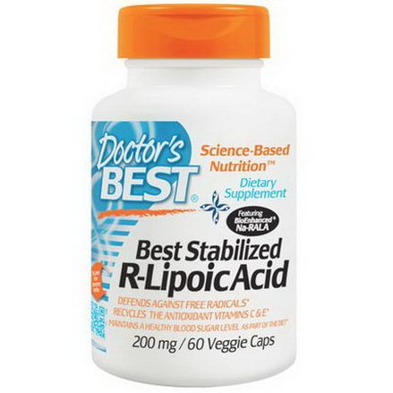 Doctor's Best, Best Stabilized R-Lipoic Acid, 200mg, 60 Veggie Caps