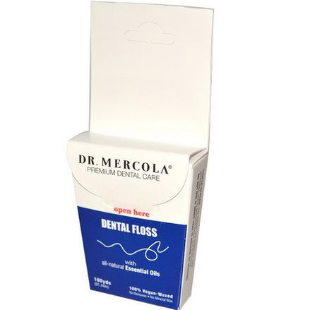 Dr. Mercola, Premium Dental Care, Dental Floss, 100% Vegan-Waxed 91.44m