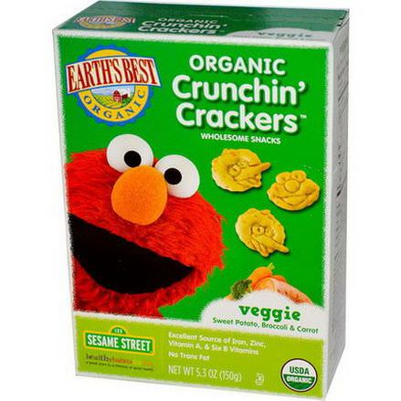 Earth's Best, Organic Crunchin'Crackers, Veggie Sweet Potato, Broccoli&Carrot 150g