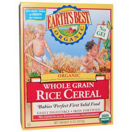Earth's Best, Organic, Whole Grain Rice Cereal 227g