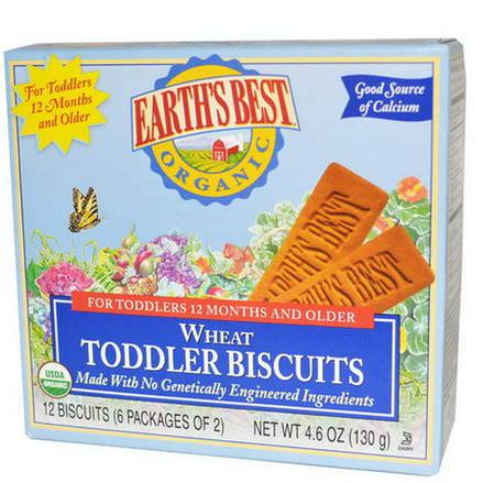 Earth's Best, Wheat Toddler Biscuits, 12 Biscuits 130g
