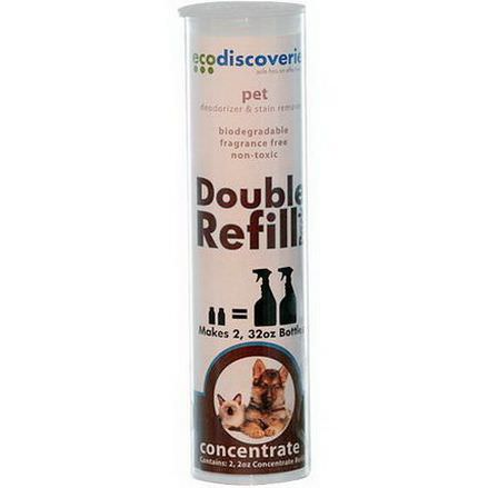 EcoDiscoveries, Double Refill Pack, Pet Deodorizer&Stain Remover 60ml Each