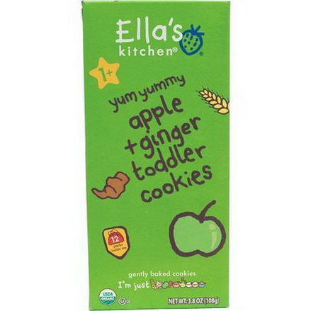 Ella's Kitchen, Toddler Cookies, Apple Ginger, 12 Packs, 9g Each