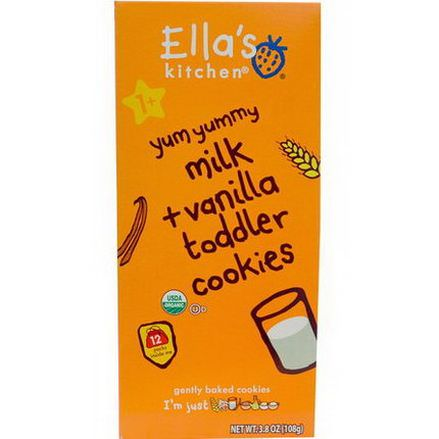 Ella's Kitchen, Toddler Cookies, Milk Vanilla, 12 Packs, 9g Each