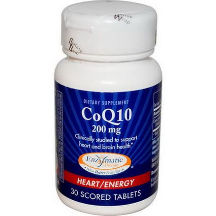 Enzymatic Therapy, CoQ10, 200mg, 30 Scored Tablets