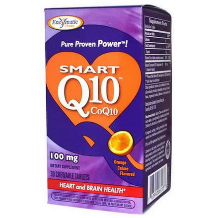 Enzymatic Therapy, Smart Q10, CoQ10, Orange Cream Flavored, 100mg, 30 Chewable Tablets