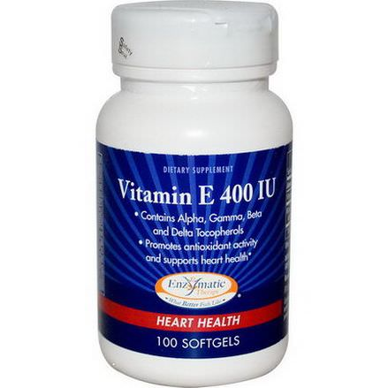 Enzymatic Therapy, Vitamin E, Heart Health, 400 IU, 100 Softgels
