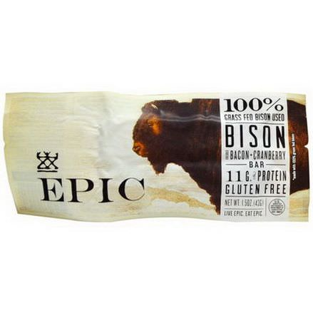 Epic Bar, Bison, Bacon Cranberry Bar, 12 Bars 43g Each