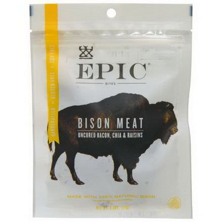 Epic Bar, Bites, Bison Meat, Uncured Bacon, Chia&Raisins 71g
