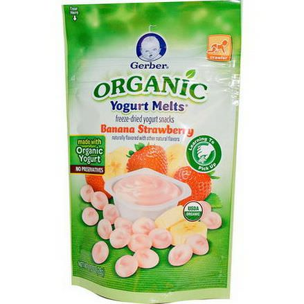 Gerber, Organic, Yogurt Melts, Banana Strawberry 28g