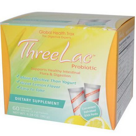 Global Health Trax, ThreeLac Probiotic, Lemon Flavor, 60 Packets 1.5g Each