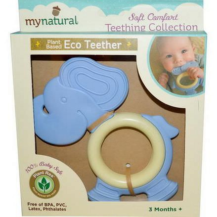 Greenpoint Brands, My Natural, Plant Based Eco Teether, Blue Elephant, 3 Months+, 1 Teether