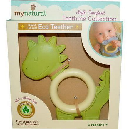 Greenpoint Brands, My Natural, Plant Based Eco Teether, Green Dinosaur, 3 Months+, 1 Teether
