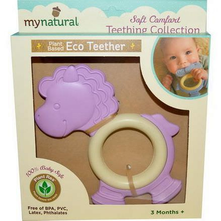Greenpoint Brands, My Natural, Plant Based Eco Teether, Purple Pony, 3 Months+, 1 Teether