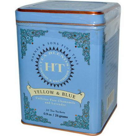 Harney&Sons, Yellow&Blue, Caffeine Free Chamomile and Lavender, 20 Tea Sachets 26g