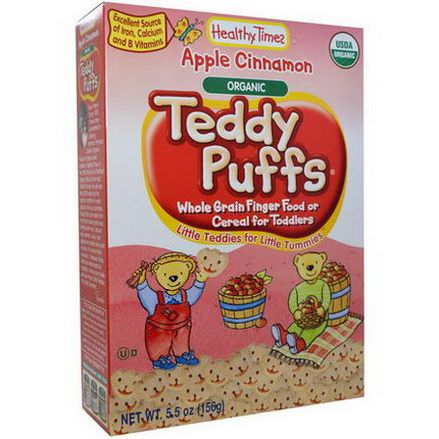 Healthy Times, Organic Teddy Puffs, Apple Cinnamon 156g