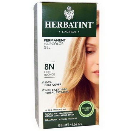 Herbatint, Permanent Haircolor Gel, 8N, Light Blonde 135ml
