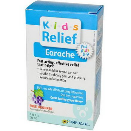 Homeolab USA, Kids Relief, Earache for Kids 0-9, Grape Flavor 25ml