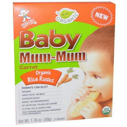 Hot Kid, Baby Mum-Mum, Organic Rice Rusks, Carrot, 24 Rusks 50g