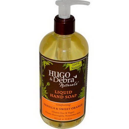 Hugo&Debra Naturals, Liquid Hand Soap, Comforting, Vanilla&Sweet Orange 355ml