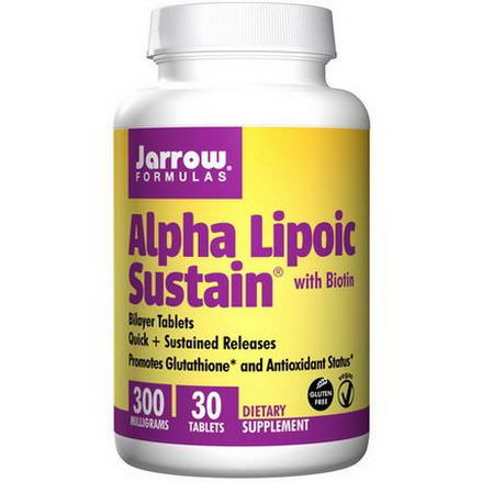 Jarrow Formulas, Alpha Lipoic Sustain 300 with Biotin, 300mg, 30 Sustain Tablets