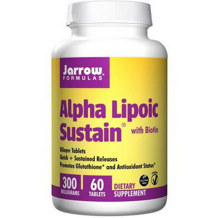 Jarrow Formulas, Alpha Lipoic Sustain 300, with Biotin, 300mg, 60 Sustain Tablets