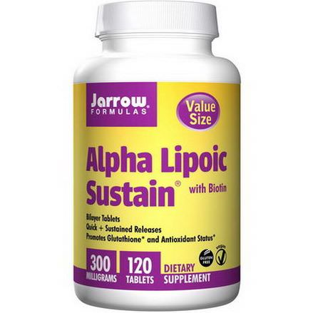 Jarrow Formulas, Alpha Lipoic Sustain, with Biotin, 300mg, 120 Tablets