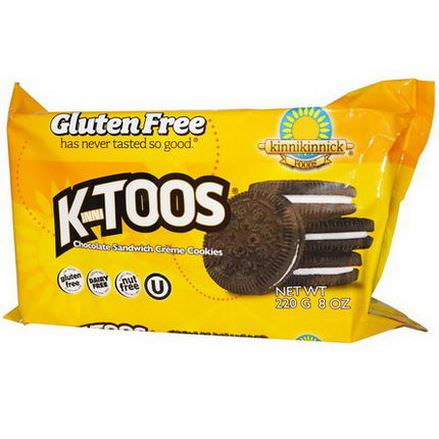 Kinnikinnick Foods, KinniToos, Chocolate Sandwich Cream Cookies 220g