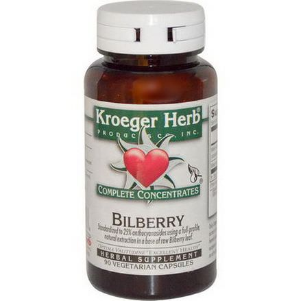 Kroeger Herb Co, Bilberry, 90 Veggie Caps