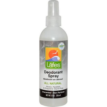 Lafe's Natural Body Care, Deodorant Spray, Unscented 236ml