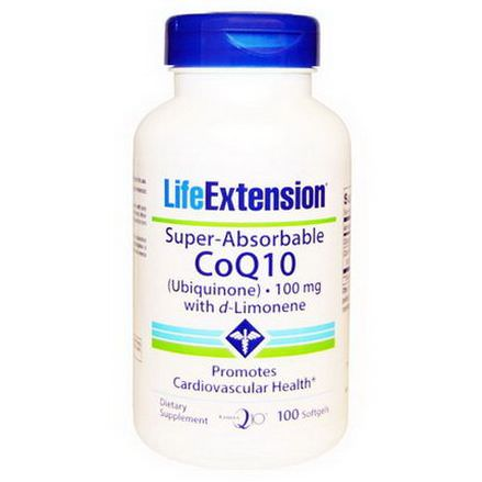 Life Extension, Super-Absorbable CoQ10 Ubiquinone with D-Limonene, 100mg, 100 Softgels