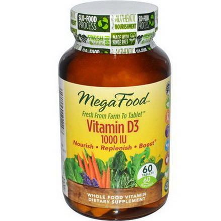 MegaFood, Vitamin D3 1000 IU, 60 Tablets