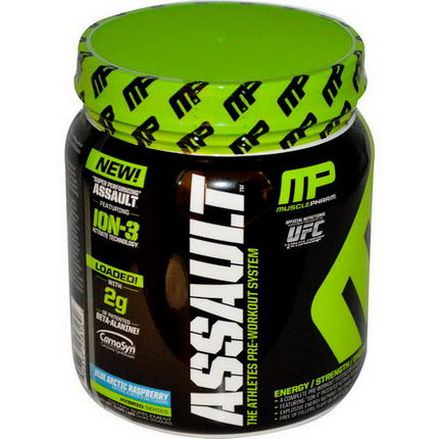 Muscle Pharm, Assault, Pre-Workout System, Blue Arctic Raspberry 435g