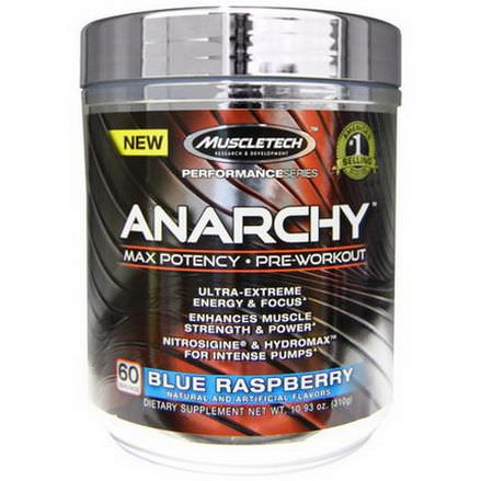 Muscletech, Anarchy, Max Potency, Pre-Workout, Blue Raspberry 310g