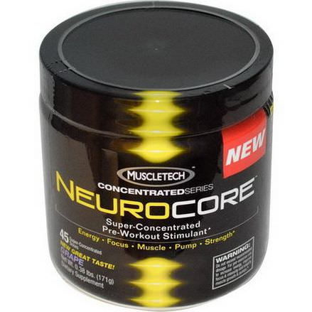 Muscletech, ConcentratedSeries, Neurocore, Super-Concentrated Pre-Workout Stimulant, Grape 171g