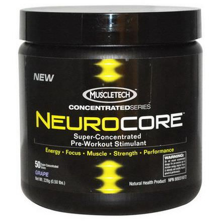 Muscletech, NeuroCore, Super-Concentrated Pre-Workout Stimulant,Grape 228g