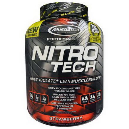 Muscletech, Nitro Tech, Whey Isolate Lean Muscle, Strawberry 1.80 kg