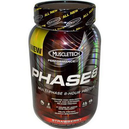 Muscletech, Phase8, Multi-Phase 8-Hour Protein, Strawberry 907g