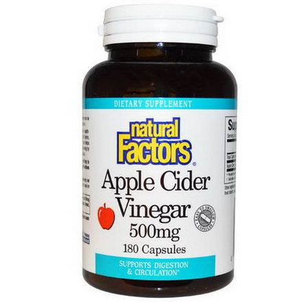 Natural Factors, Apple Cider Vinegar, 500mg, 180 Capsules