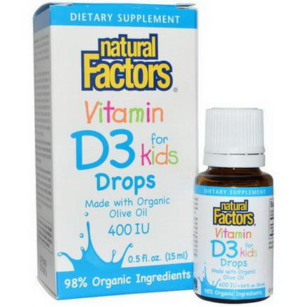 Natural Factors, Vitamin D3 Drops for Kids, 400 IU 15ml